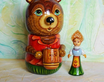 Wooden toy // The Bear and Masha // Hand Painted // Toy Casket // Nesting Doll // Matryoshka Toy