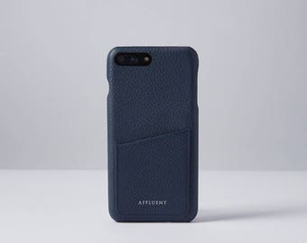 Grained ITALIAN LEATHER iPhone Case with Card Slot Navy