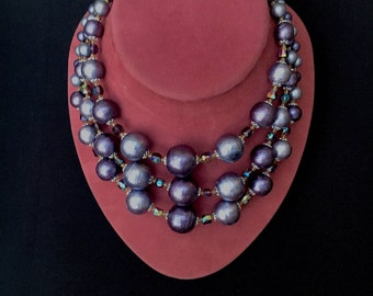 Purple Beaded AB Crystal Necklace - Multi Strand 1960s Costume Jewelry Vintage Necklace - Japan - Aurora Borealis Crystals