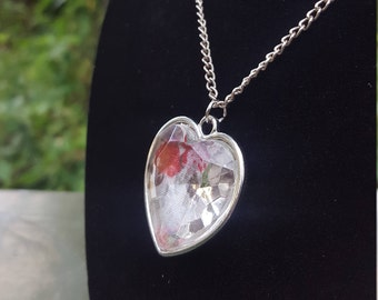 Heart Shaped Pendant Necklace with see through Rose Display