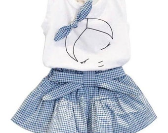 Two piece gingham short and vest set