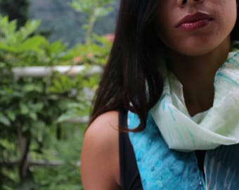 summer silk scarf hand dyed with the arashi shibori technique/green and petroil/foulard/marble effect/100%silk/55x18 in