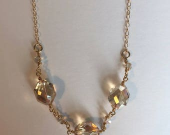 Champagne Bead and Swarovski Crystal Gold Necklace