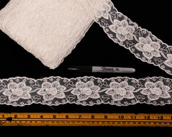 4 Yards Trim, Embroidered, 2 inches wide, Cream, Off-White,