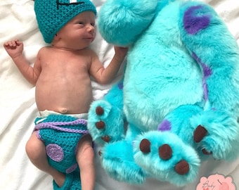 Disney Monsters Inc Inspired Sulley Infant Newborn Baby Outfit Beanie Hat Booties Shoes Diaper Cover Crochet Photography Photo Prop