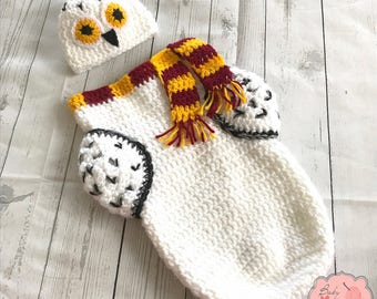 Hedwig Harry Potter Owl Inspired Infant Newborn Baby Outfit Beanie Hat Cocoon Sack Bundle Crochet Photography Photo Prop