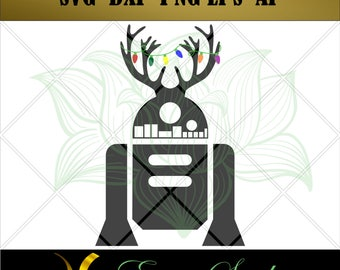Christmas R2 svg, Robot svg, Printable svg, Files for Cricut svg, Cutting Files, Vector Art, Digital Cut, Files for Silhouette.