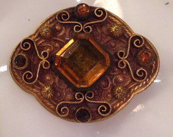 antique victorian brass citrine glass brooch. circa 1900