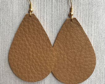 Tan - Leather Teardrop Earrings