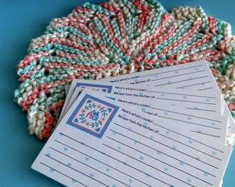 "Vintage recipe cards ""Here's What's Cookin"" by Current USA plus handmade pot holder, hot pad"