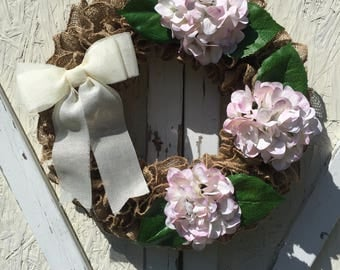 Burlap Wreath Baby Pink Hydrangea Wreath Ruffle Wreath Spring Wreath Summer Wreath Front Door Wreath