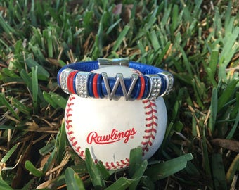 """Chicago Cubs Inspired """"W"""" Leather Bracelet"""