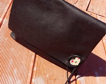 Black Leather Clutch Purse, durable cow leather, oversize leather clutch with flap, free shipping