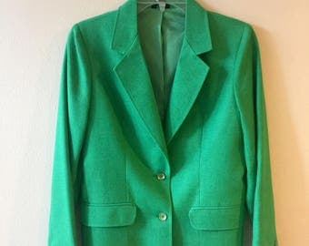 Oscar de la Renta, vintage blazer, green blazer, vintage jacket, spring blazer, wool blend blazer, linen blend blazer, women's blazer