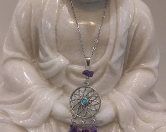 Amethyst necklace natural stone, gemstone jewelry