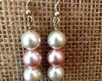 Handmade Pearl Earrings (pink and white)
