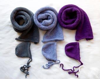 Newborn Hand Knitted Wrap and Bonnet set.