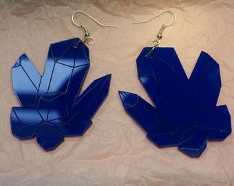 Big Midnight Dark Blue Crystal Cluster Acrylic/Perspex Fish hook Earrings (Cute Gemstones Divination)