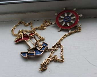 Vintage Nautical Necklace and Brooch set