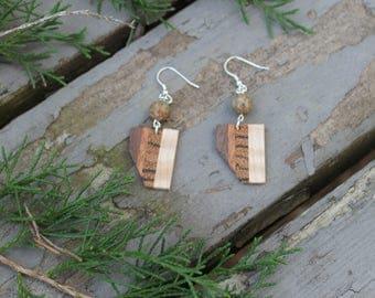 Wood Earrings/Minimalist Jewelry/Dangle Earrings/Wood Jewelry/Wooden Earrings/Wood & Stone Earrings/Wooden Dangle Earrings/Jewelry Handmade