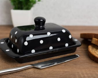 City to Cottage Black And White Polka Dot Hand Painted Ceramic Butter Dish With Lid