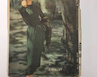 McCall's 4222 Givenchy Designer Pattern, 1950s Sewing Pattern, Size 12 Bust 32 High Collar Dress Cinched Waist, Buttoned Skirt