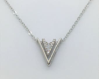 Silver Double V Pendant Necklace // Sterling Silver Necklace // Cubic Zirconia // Wedding Jewelry