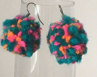 Speckled Pom Pom Earrings Great For Festivals! Made with vegan friendly acrylic wool