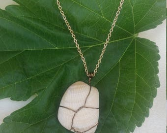Weathered wire-wrapped seashell necklace