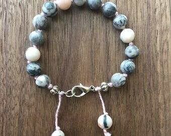 Gray Jasper Gemstone Bracelet / Gray Bracelet / Boho Bracelet/ Beaded Bracelet / Gemstone Bracelet / Yoga Bracelet / Layering Bracelet