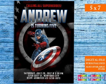 Captain America Invitation, Captain America Birthday, Captain America Birthday Invitation, Superhero Invitation, Avengers Invitations