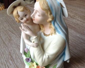 Madonna and child porcelain figurine