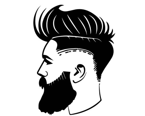 Haircut Barber Fashion Style Handsome Beard Mustache Retro