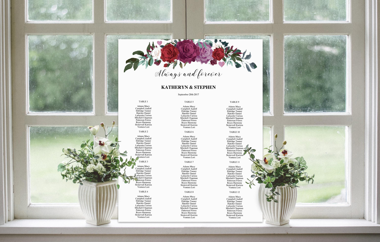 Wedding Seating Chart | Printable Seating Chart | Floral Seating ...
