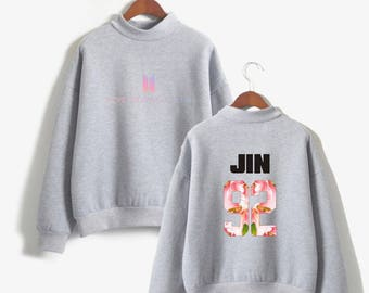 BTS Members Sweatshirt Bangtan Boys K-Pop Love Hoodie Floral Long Sleeve Korean Sweatshirt Harajuku Oversized Sweatshirt EXO GOT7 UNISEX
