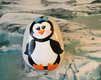 Sassy Penguin with a Bow, Handpainted Rock - p2