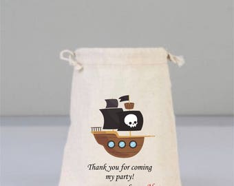 Personalized Birthday Party Bag with Pirate Ship, Birthday Party Decorations , Birthday Party Gift, Children  Gifts, Cotton Bag Drawstring
