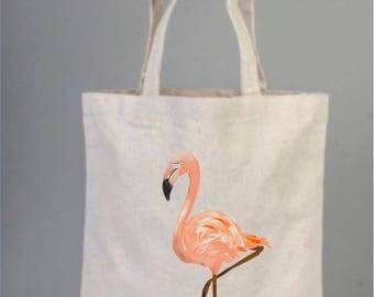 Flamingo, Flamingo Bag, cotton bags, tote bags, cotton tote, everyday bags, flamingo decor, market bag, handmade drawing