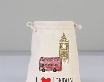 Drawstring Bag, City Bag, Travel Bags, London Bag, I love London  Cotton Bags, Travel Gifts, LondonTheme Bags, Red Bus, Big Ben, Drawstring
