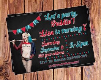 Harley Quinn Birthday invitations - Customized - Personalised birthday invites - Harley Quinn party - Front and Back