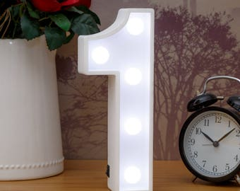 "Light Up Number 1 (One) - 23cm (9"") high sign, Illuminated White Wooden Marquee Letters with LED Lights Wall Hanging or Freestanding"