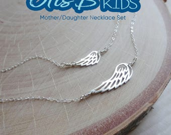 Angel Wing Matching Necklaces, mother daughter set, big and little gift, mother daughter jewelry, First day of school, layering set,, Otis B