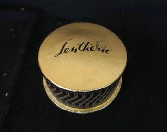 Boite a poudre ancienne de collection parfumerie Lenthéric, Rachel Rosée, Caja de polvo antigua colección de perfumes, Old powder box,