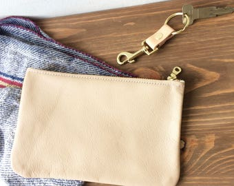 Sana Beige leather Clutch. Beige Leather Pouch.  Leather Wallet. Leather Make Up Bag. Cosmetic Bag. Leather Cosmetic pouch.  leather clutch