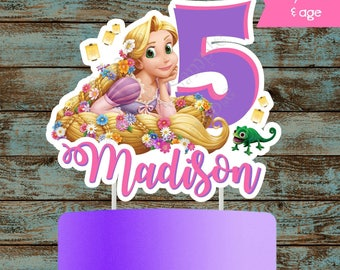 Custom Rapunzel Cake Topper, Rapunzel Centerpiece, Tangled Centerpiece, Tangled Cake Topper, Rapunzel Tangled Printable Party Decorations