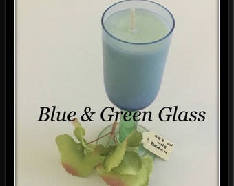 Blue and Green Glass - Soy Wax Candle  - Hand poured in Brisbane.