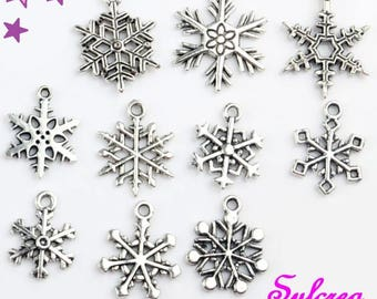 10 charms from 24 to 18 mm mixed winter / snowflake sizes weather silver-plated
