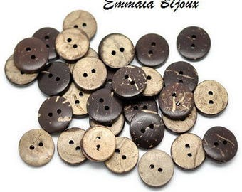4 buttons 15 mm Brown coconut shell