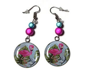 Dangling earrings magic Pearl/Pink Flamingo Pink and turquoise/gift/anniversary