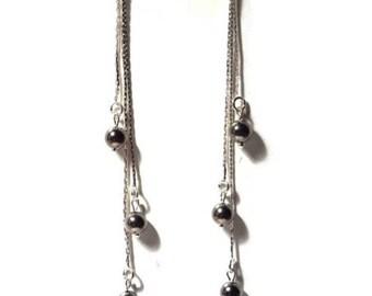 Hematite, thin, lightweight, serpentine chain Pearl Earrings / gift/birthday